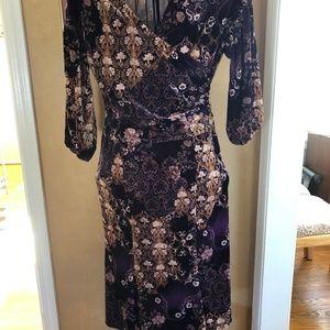 velvet stretch maxi dress - purple with floral